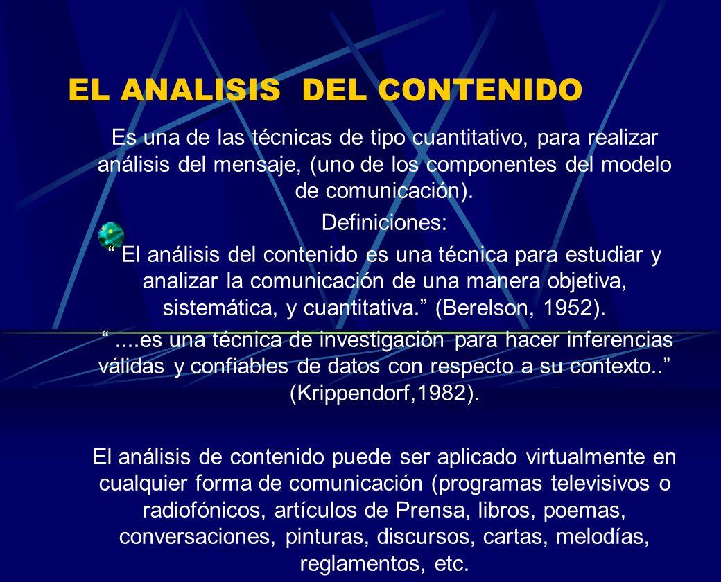 EL ANALISIS DEL CONTENIDO Es una de las técnicas de tipo cuantitativo, para realizar análisis del mensaje, (uno de los componentes del modelo de comun