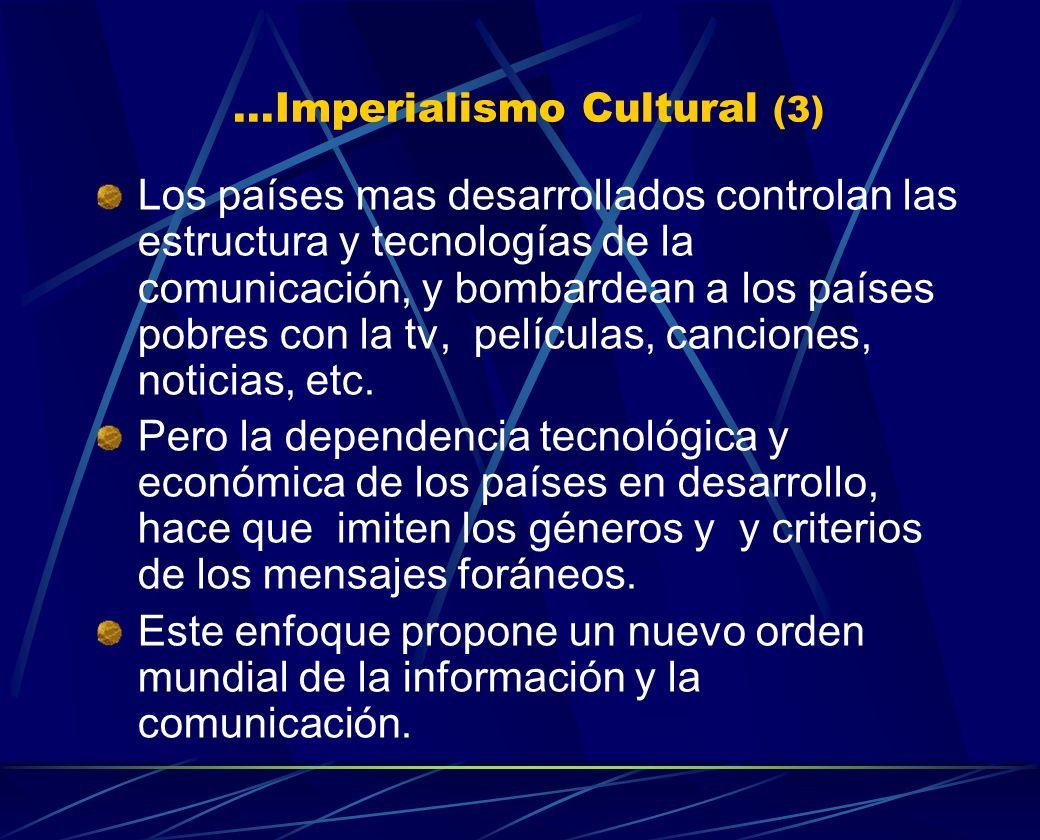 ...Imperialismo Cultural (3) Los países mas desarrollados controlan las estructura y tecnologías de la comunicación, y bombardean a los países pobres