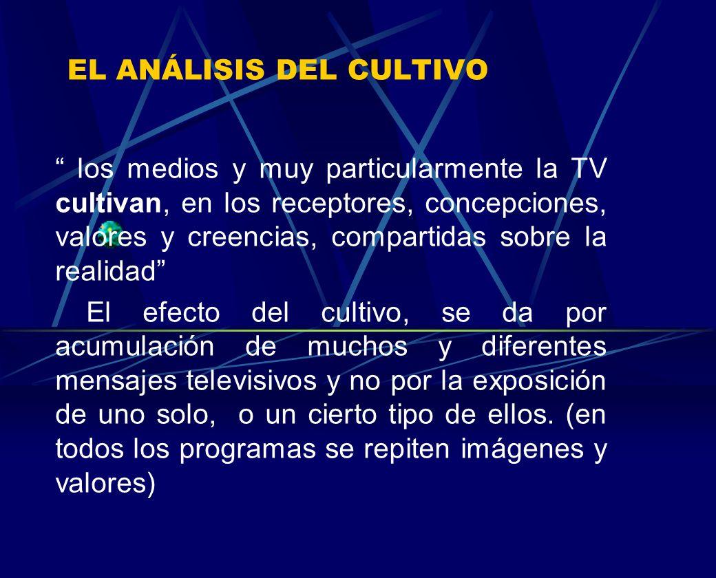 EL ANÁLISIS DEL CULTIVO los medios y muy particularmente la TV cultivan, en los receptores, concepciones, valores y creencias, compartidas sobre la re