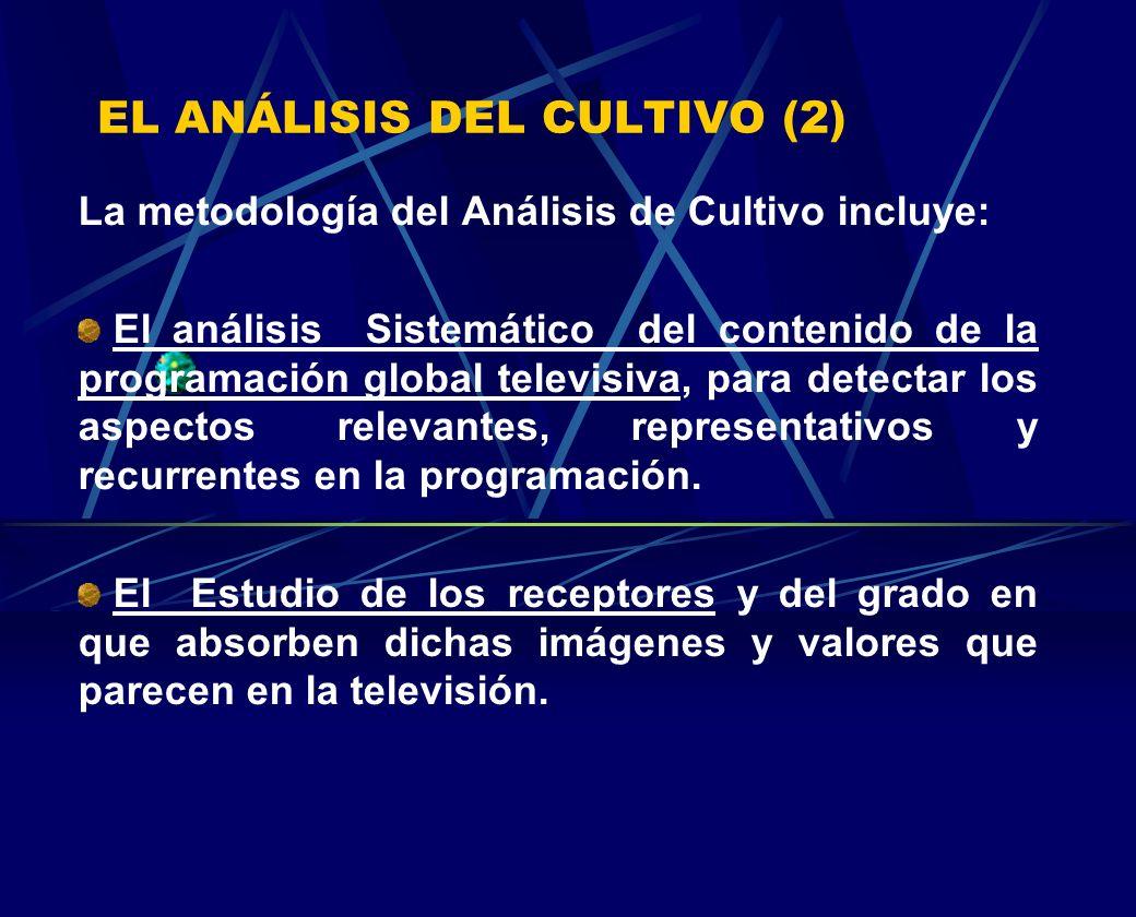 EL ANÁLISIS DEL CULTIVO (2) La metodología del Análisis de Cultivo incluye: El análisis Sistemático del contenido de la programación global televisiva