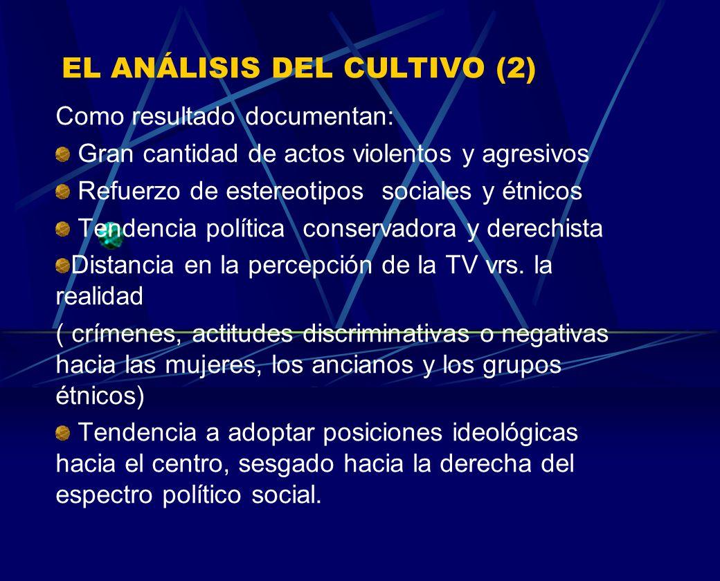 EL ANÁLISIS DEL CULTIVO (2) Como resultado documentan: Gran cantidad de actos violentos y agresivos Refuerzo de estereotipos sociales y étnicos Tenden