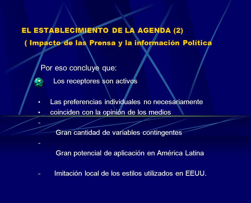 EL ESTABLECIMIENTO DE LA AGENDA (2) ( Impacto de las Prensa y la información Política Por eso concluye que: Los receptores son activos Las preferencia