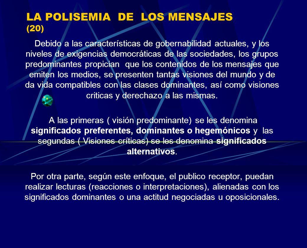 LA POLISEMIA DE LOS MENSAJES (20) Debido a las características de gobernabilidad actuales, y los niveles de exigencias democráticas de las sociedades,