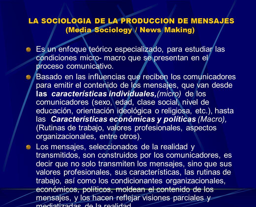 LA SOCIOLOGIA DE LA PRODUCCION DE MENSAJES (Media Sociology / News Making) Es un enfoque teórico especializado, para estudiar las condiciones micro- m