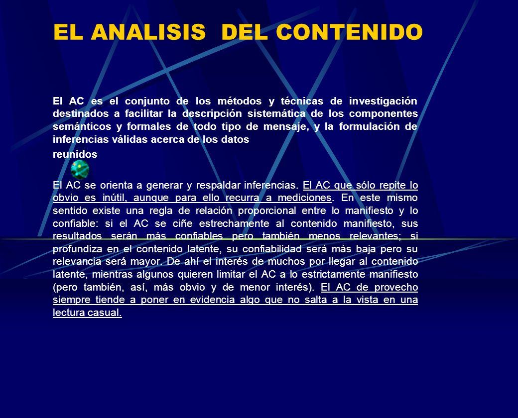 EL ANALISIS DEL CONTENIDO El AC es el conjunto de los métodos y técnicas de investigación destinados a facilitar la descripción sistemática de los com
