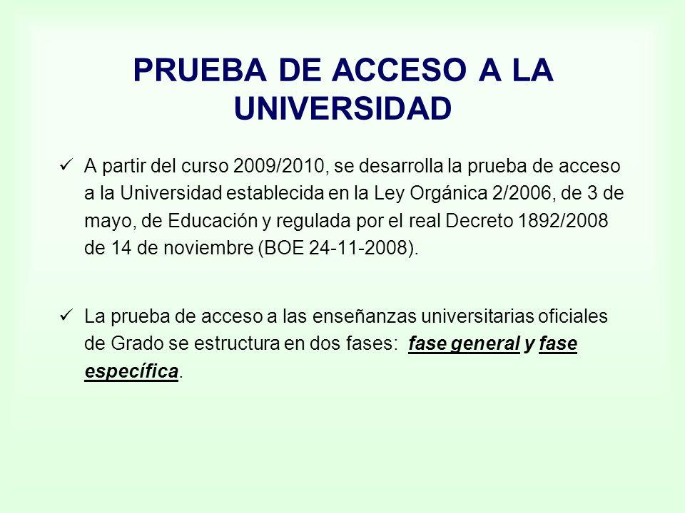 PRUEBA DE ACCESO A LA UNIVERSIDAD A partir del curso 2009/2010, se desarrolla la prueba de acceso a la Universidad establecida en la Ley Orgánica 2/20