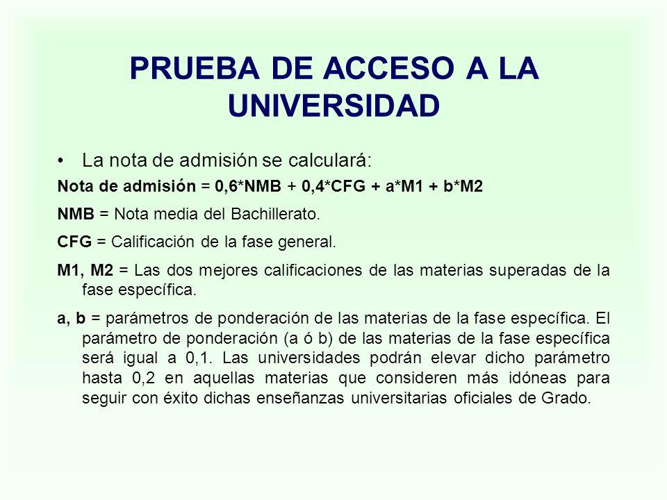 PRUEBA DE ACCESO A LA UNIVERSIDAD La nota de admisión se calculará: Nota de admisión = 0,6*NMB + 0,4*CFG + a*M1 + b*M2 NMB = Nota media del Bachillera