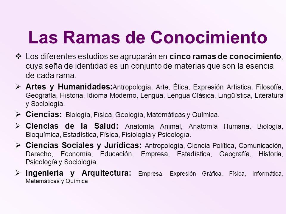 Las Ramas de Conocimiento Los diferentes estudios se agruparán en cinco ramas de conocimiento, cuya seña de identidad es un conjunto de materias que s