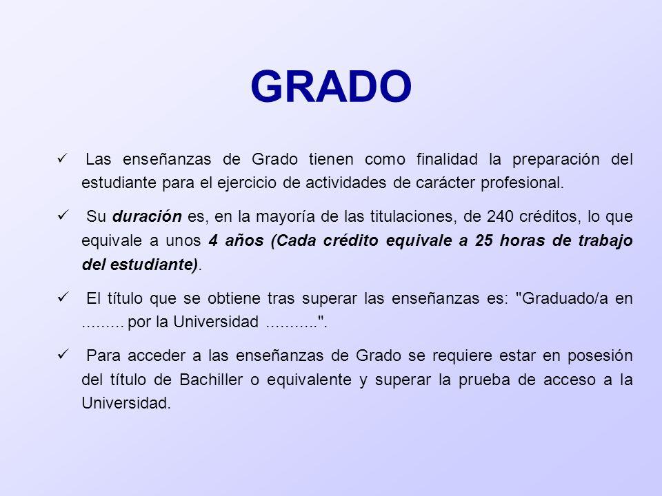 GRADO Las enseñanzas de Grado tienen como finalidad la preparación del estudiante para el ejercicio de actividades de carácter profesional. Su duració