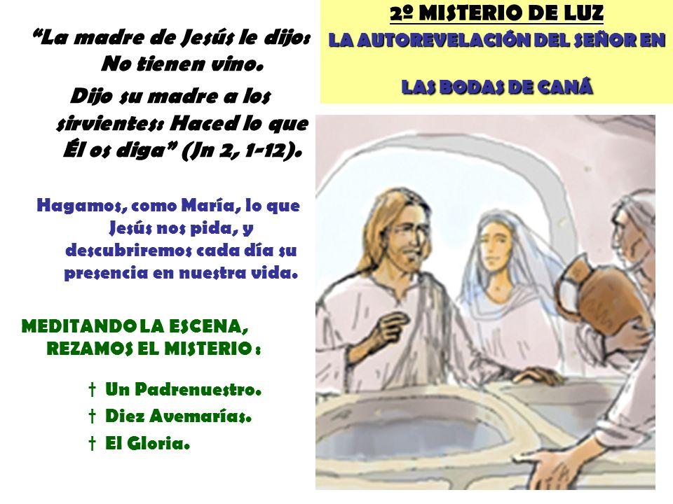 DE LUZ LA AUTOREVELACIÓN DEL SEÑOR EN LAS BODAS DE CANÁ 2º MISTERIO DE LUZ LA AUTOREVELACIÓN DEL SEÑOR EN LAS BODAS DE CANÁ La madre de Jesús le dijo: