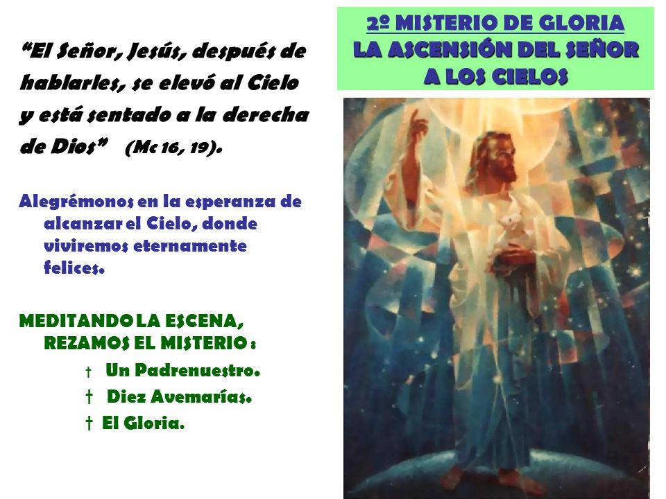 LA ASCENSIÓN DEL SEÑOR A LOS CIELOS 2º MISTERIO DE GLORIA LA ASCENSIÓN DEL SEÑOR A LOS CIELOS El Señor, Jesús, después de hablarles, se elevó al Cielo