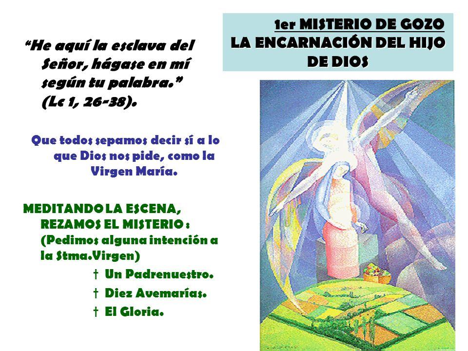 LA ENCARNACIÓN DEL HIJO DE DIOS 1er MISTERIO DE GOZO LA ENCARNACIÓN DEL HIJO DE DIOS He aquí la esclava del Señor, hágase en mí según tu palabra. (Lc