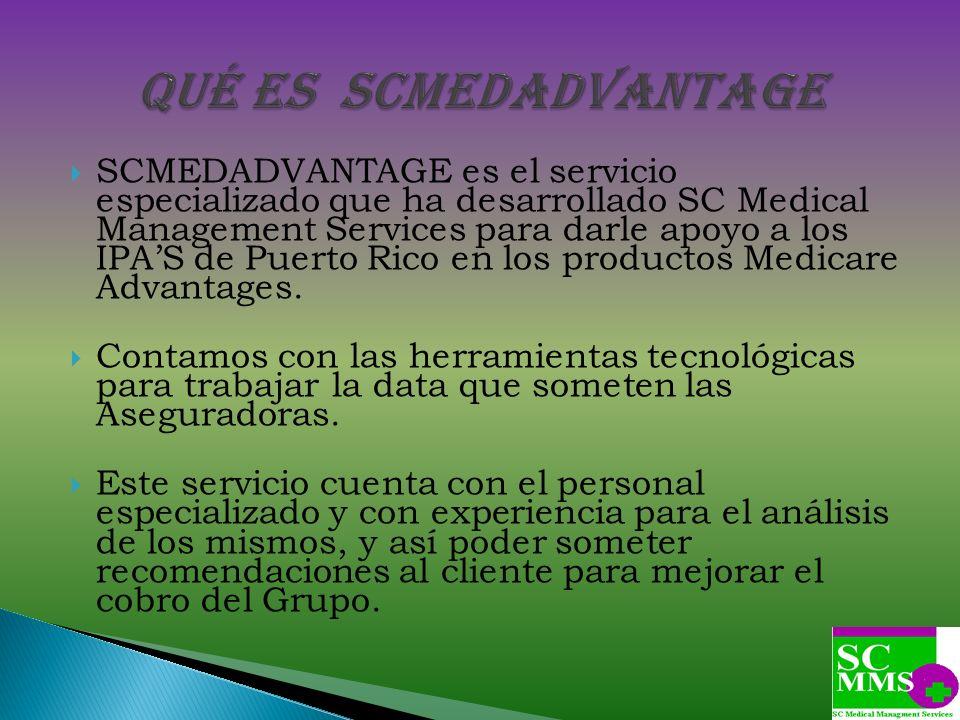SCMEDADVANTAGE es el servicio especializado que ha desarrollado SC Medical Management Services para darle apoyo a los IPAS de Puerto Rico en los produ
