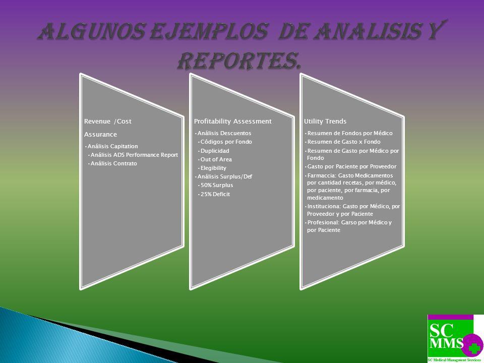 Revenue /Cost Assurance Análisis Capitation Análisis ADS Performance Report Análisis Contrato Profitability Assessment Análisis Descuentos Códigos por