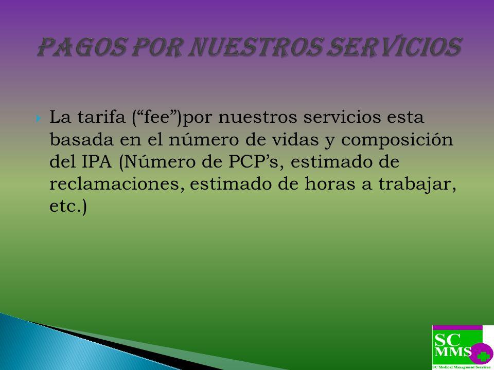 La tarifa (fee)por nuestros servicios esta basada en el número de vidas y composición del IPA (Número de PCPs, estimado de reclamaciones, estimado de