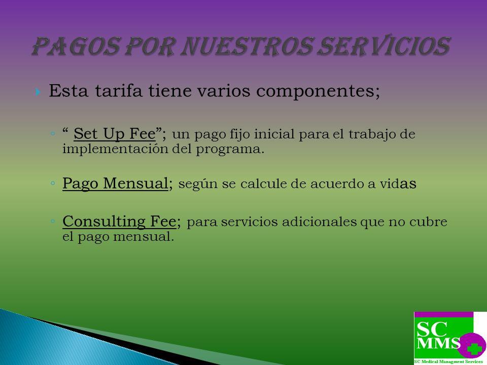 Esta tarifa tiene varios componentes; Set Up Fee; un pago fijo inicial para el trabajo de implementación del programa. Pago Mensual; según se calcule