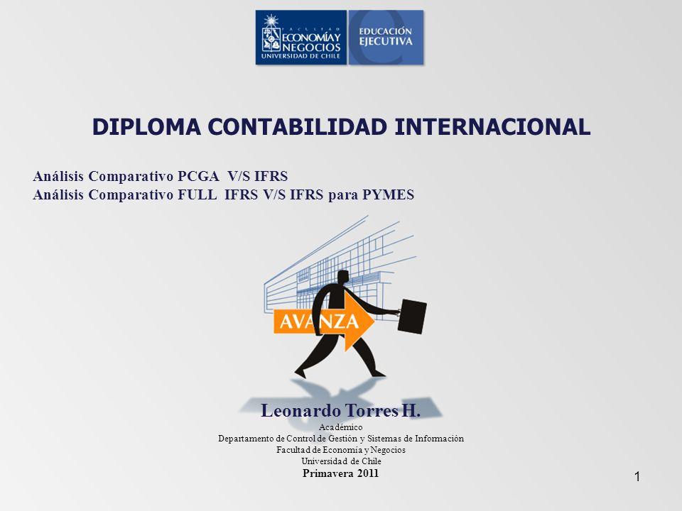DIPLOMA CONTABILIDAD INTERNACIONAL Análisis Comparativo PCGA V/S IFRS Análisis Comparativo FULL IFRS V/S IFRS para PYMES Leonardo Torres H. Académico
