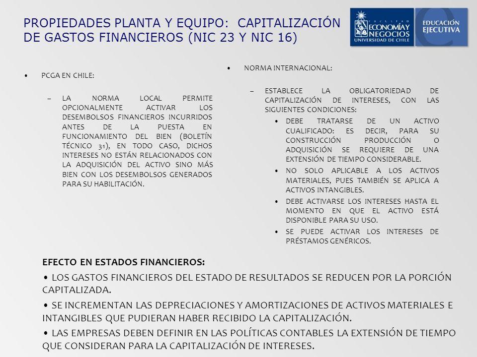 PROPIEDADES PLANTA Y EQUIPO: CAPITALIZACIÓN DE GASTOS FINANCIEROS (NIC 23 Y NIC 16) PCGA EN CHILE: –LA NORMA LOCAL PERMITE OPCIONALMENTE ACTIVAR LOS D