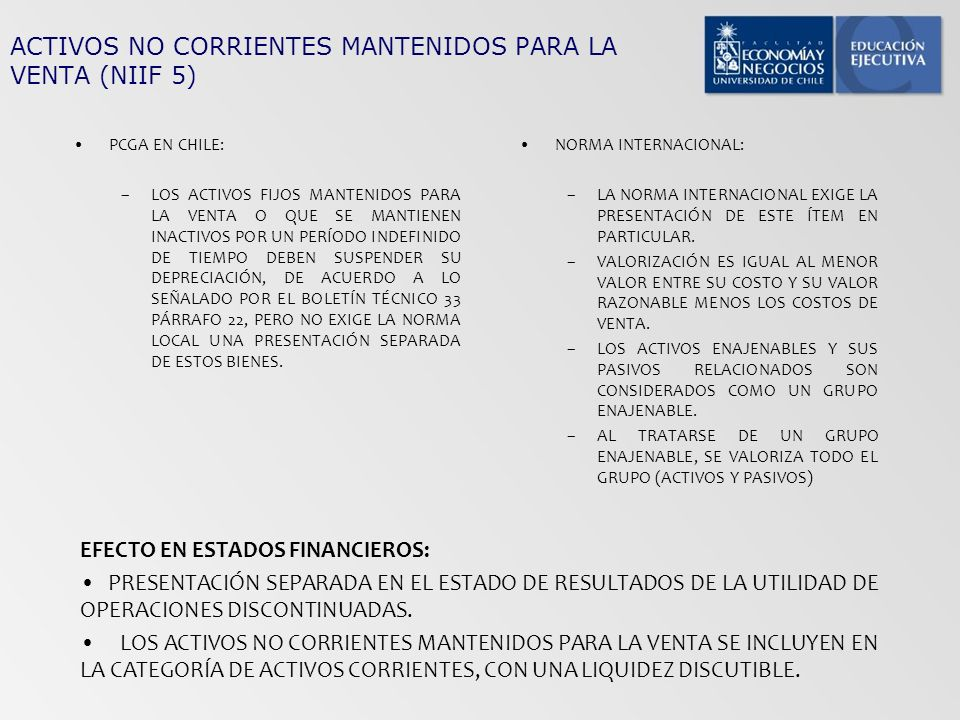 ACTIVOS NO CORRIENTES MANTENIDOS PARA LA VENTA (NIIF 5) PCGA EN CHILE: –LOS ACTIVOS FIJOS MANTENIDOS PARA LA VENTA O QUE SE MANTIENEN INACTIVOS POR UN