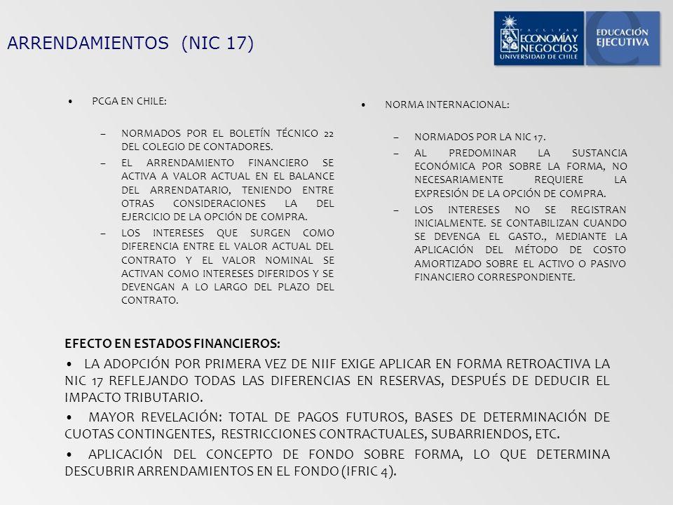 ARRENDAMIENTOS (NIC 17) PCGA EN CHILE: –NORMADOS POR EL BOLETÍN TÉCNICO 22 DEL COLEGIO DE CONTADORES. –EL ARRENDAMIENTO FINANCIERO SE ACTIVA A VALOR A
