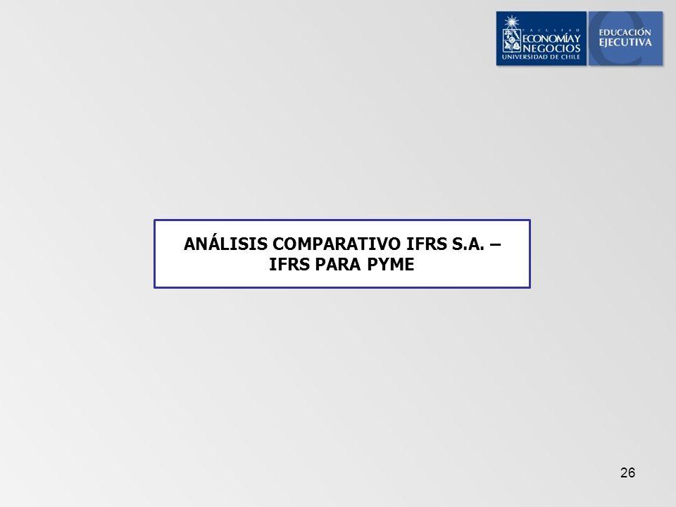 26 ANÁLISIS COMPARATIVO IFRS S.A. – IFRS PARA PYME