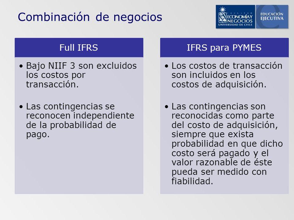 Full IFRS Bajo NIIF 3 son excluidos los costos por transacción. Las contingencias se reconocen independiente de la probabilidad de pago. IFRS para PYM