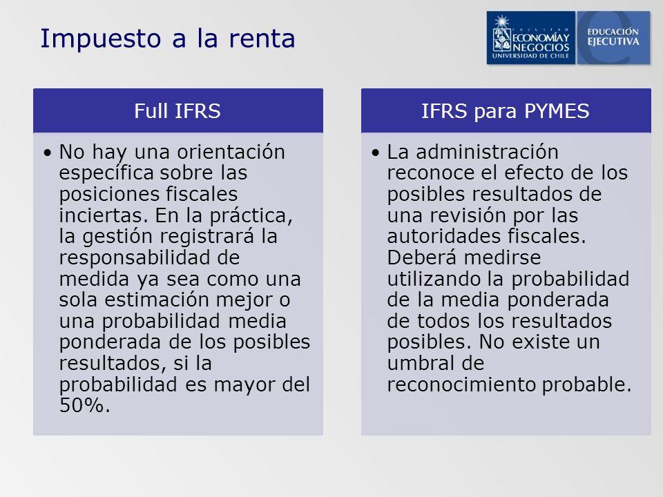 Full IFRS No hay una orientación específica sobre las posiciones fiscales inciertas. En la práctica, la gestión registrará la responsabilidad de medid