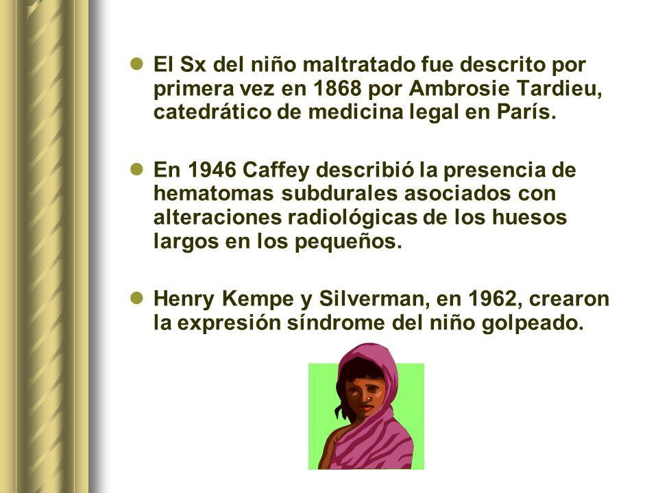 El Sx del niño maltratado fue descrito por primera vez en 1868 por Ambrosie Tardieu, catedrático de medicina legal en París. En 1946 Caffey describió