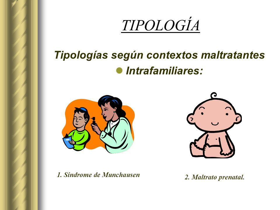 TIPOLOGÍA Tipologías según contextos maltratantes Intrafamiliares: 2. Maltrato prenatal. 1. Síndrome de Munchausen