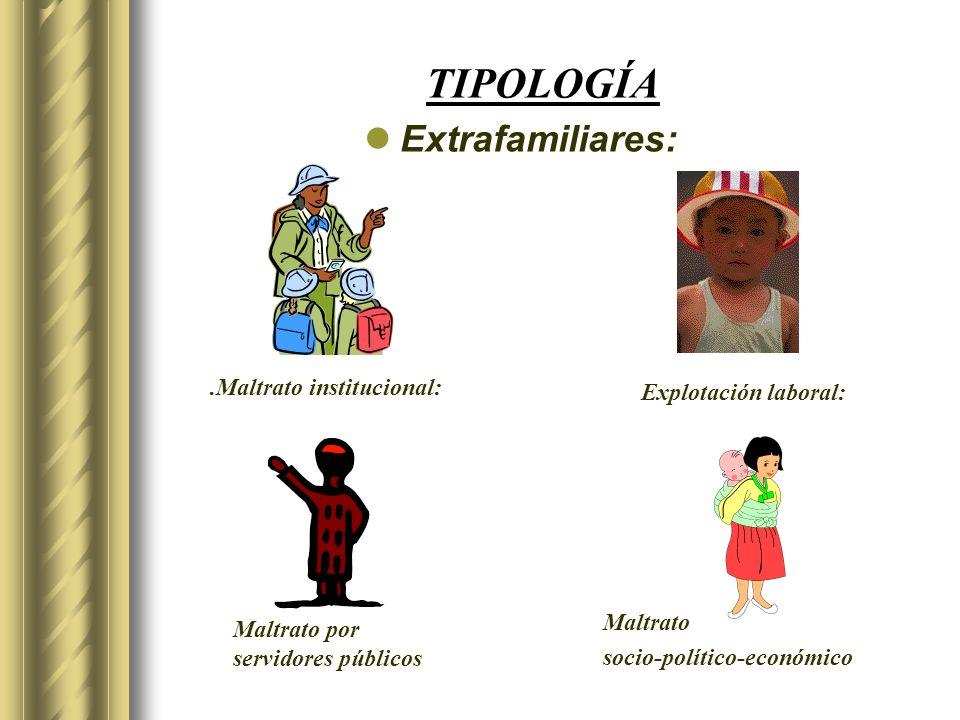 TIPOLOGÍA Extrafamiliares:.Maltrato institucional: Explotación laboral: Maltrato por servidores públicos Maltrato socio-político-económico