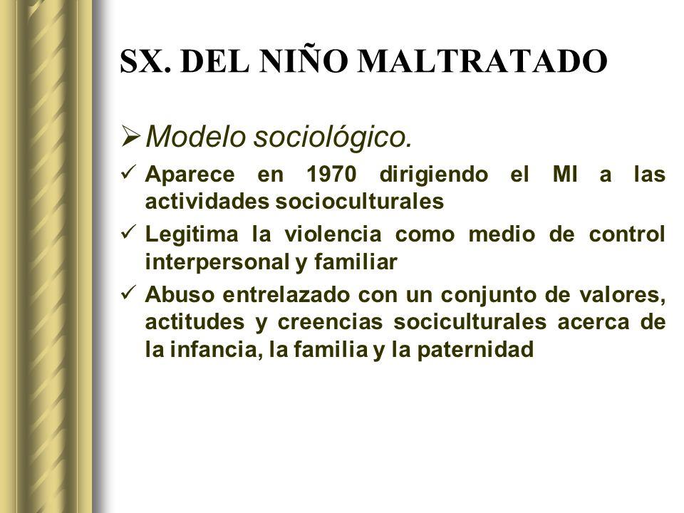 SX. DEL NIÑO MALTRATADO Modelo sociológico. Aparece en 1970 dirigiendo el MI a las actividades socioculturales Legitima la violencia como medio de con