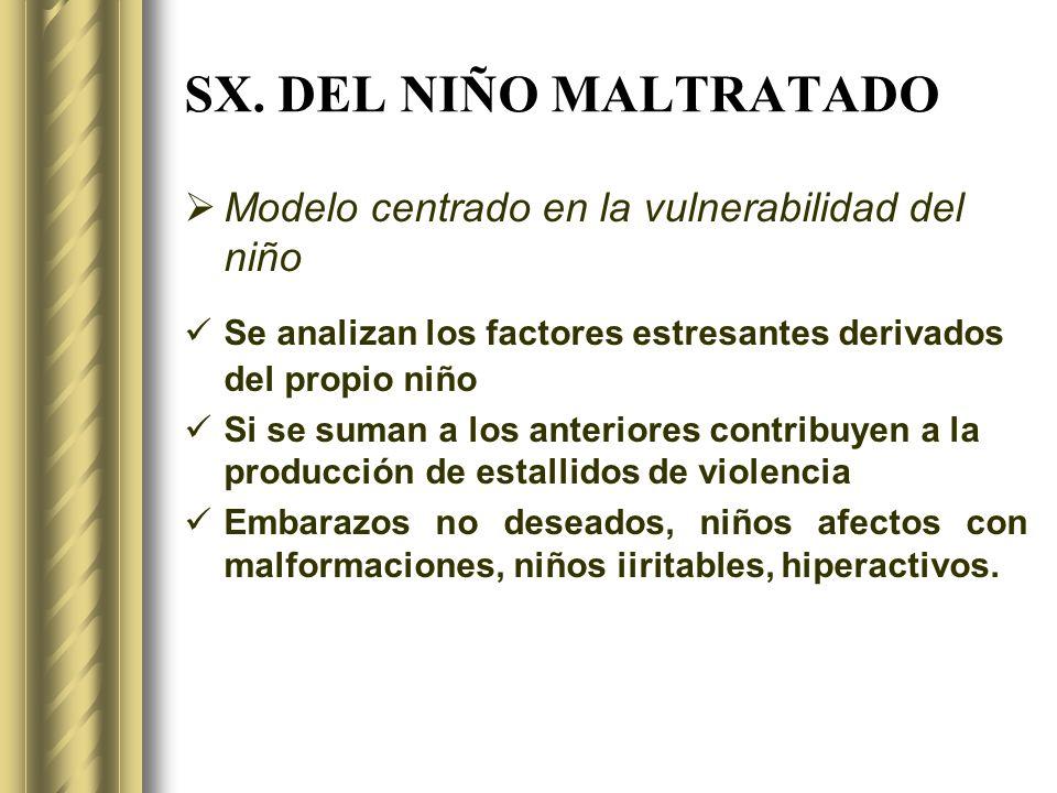 SX. DEL NIÑO MALTRATADO Modelo centrado en la vulnerabilidad del niño Se analizan los factores estresantes derivados del propio niño Si se suman a los