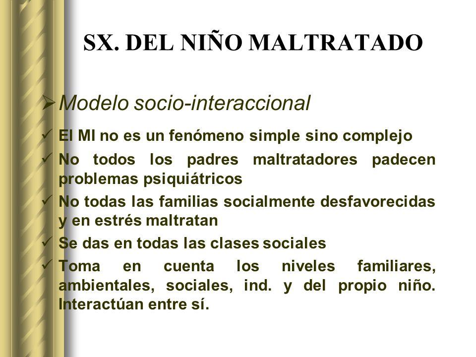 SX. DEL NIÑO MALTRATADO Modelo socio-interaccional El MI no es un fenómeno simple sino complejo No todos los padres maltratadores padecen problemas ps