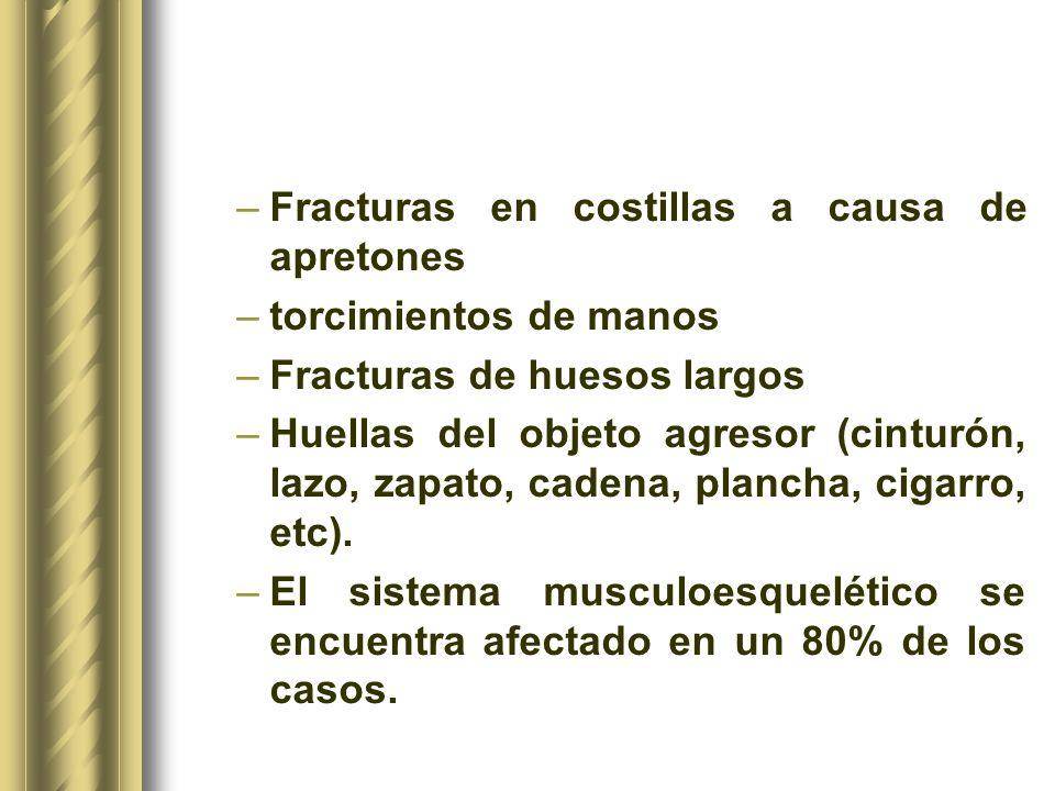 –Fracturas en costillas a causa de apretones –torcimientos de manos –Fracturas de huesos largos –Huellas del objeto agresor (cinturón, lazo, zapato, c