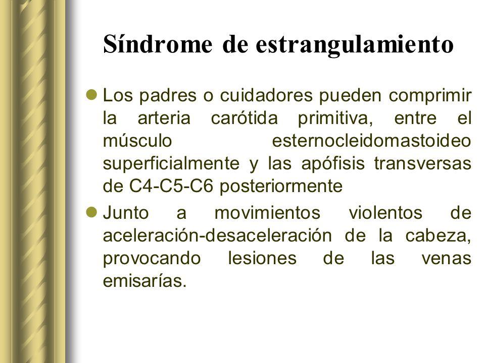 Síndrome de estrangulamiento Los padres o cuidadores pueden comprimir la arteria carótida primitiva, entre el músculo esternocleidomastoideo superfici
