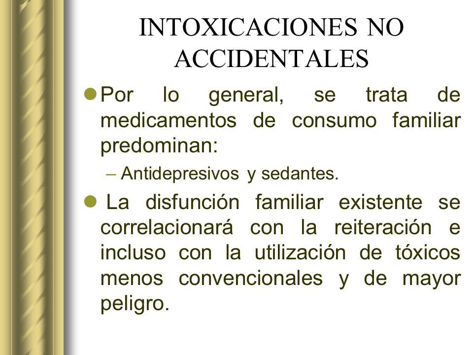 INTOXICACIONES NO ACCIDENTALES Por lo general, se trata de medicamentos de consumo familiar predominan: –Antidepresivos y sedantes. La disfunción fami