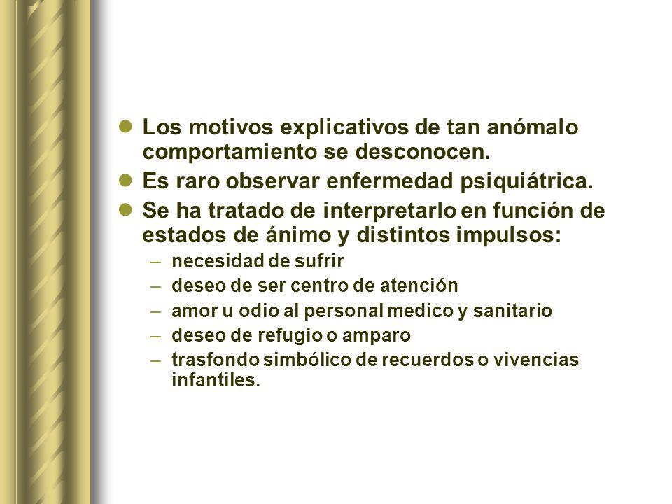 Los motivos explicativos de tan anómalo comportamiento se desconocen. Es raro observar enfermedad psiquiátrica. Se ha tratado de interpretarlo en func