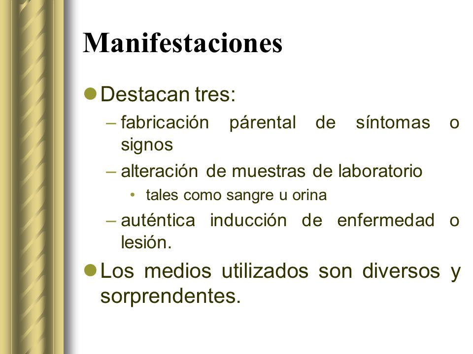 Manifestaciones Destacan tres: –fabricación párental de síntomas o signos –alteración de muestras de laboratorio tales como sangre u orina –auténtica