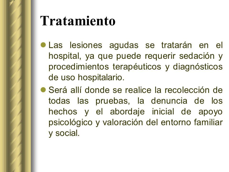 Tratamiento Las lesiones agudas se tratarán en el hospital, ya que puede requerir sedación y procedimientos terapéuticos y diagnósticos de uso hospita