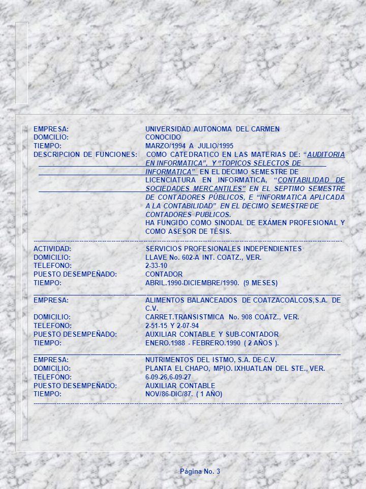 EMPRESA:UNIVERSIDAD AUTONOMA DEL CARMEN DOMCILIO:CONOCIDO TIEMPO:MARZO/1994 A JULIO/1995 DESCRIPCION DE FUNCIONES: COMO CATEDRATICO EN LAS MATERIAS DE