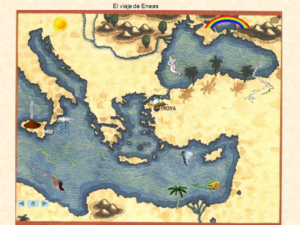 Libro VI Llega por fin Eneas a las costas de Italia, a Cumas. Se entrevista con la Sibila, escucha su oráculo y le pide que le acompañe a las mansione