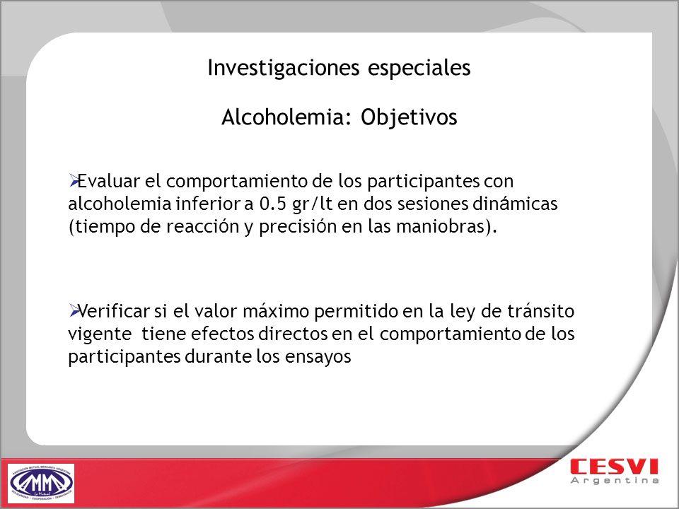Alcoholemia: Objetivos Evaluar el comportamiento de los participantes con alcoholemia inferior a 0.5 gr/lt en dos sesiones din á micas (tiempo de reac