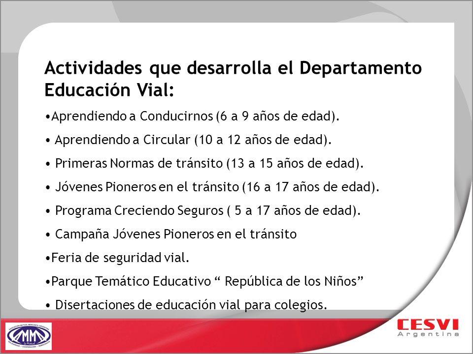 Actividades que desarrolla el Departamento Educación Vial: Aprendiendo a Conducirnos (6 a 9 años de edad). Aprendiendo a Circular (10 a 12 años de eda