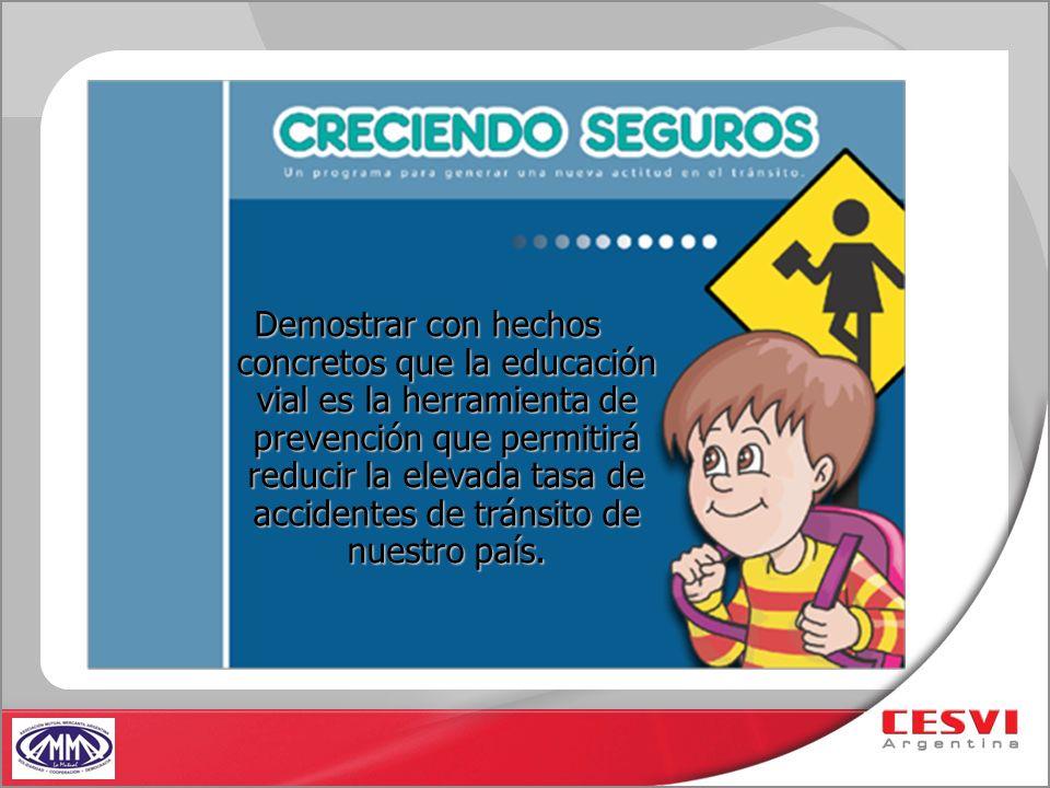 Demostrar con hechos concretos que la educación vial es la herramienta de prevención que permitirá reducir la elevada tasa de accidentes de tránsito d