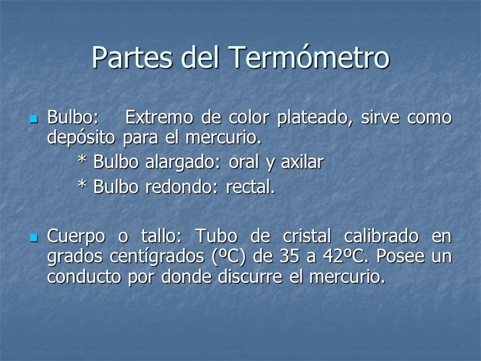 Tipos de Termómetro Termómetro de vidrio: Tubo de vidrio sellado que contiene mercurio. Mercurio tóxico para la salud. 3-5 min. Termómetro de vidrio: