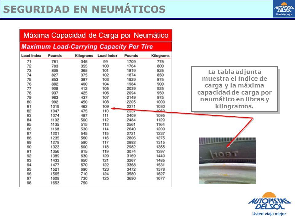 SEGURIDAD EN NEUMÁTICOS Máxima Capacidad de Carga por Neumático La tabla adjunta muestra el índice de carga y la máxima capacidad de carga por neumáti