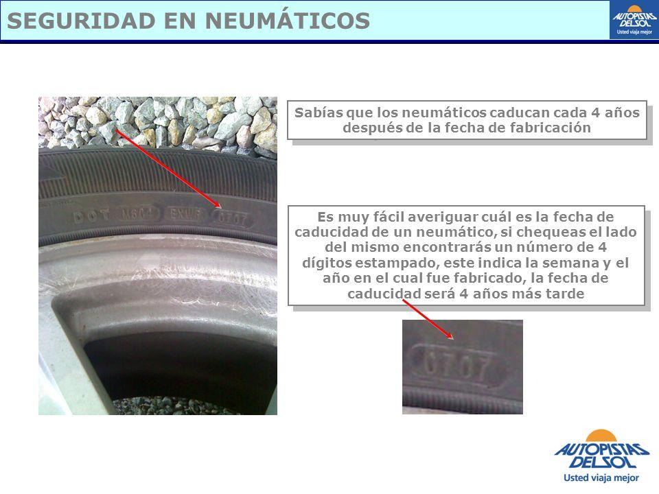 SEGURIDAD EN NEUMÁTICOS Sabías que los neumáticos caducan cada 4 años después de la fecha de fabricación Sabías que los neumáticos caducan cada 4 años