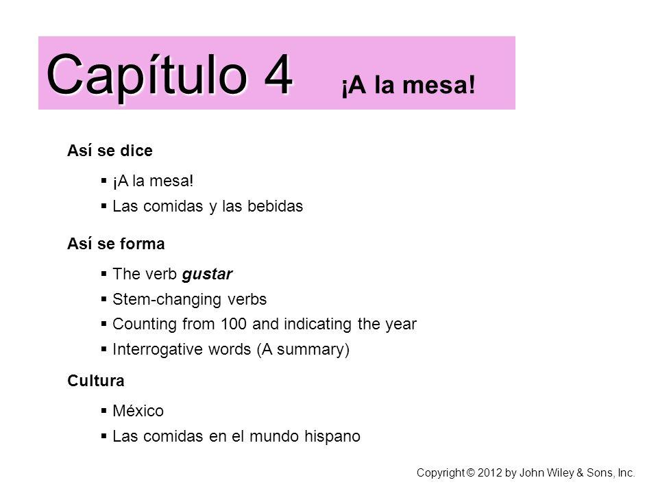 Así se dice ¡A la mesa! Las comidas y las bebidas Capítulo 4 Capítulo 4 ¡A la mesa! Cultura México Las comidas en el mundo hispano Así se forma The ve