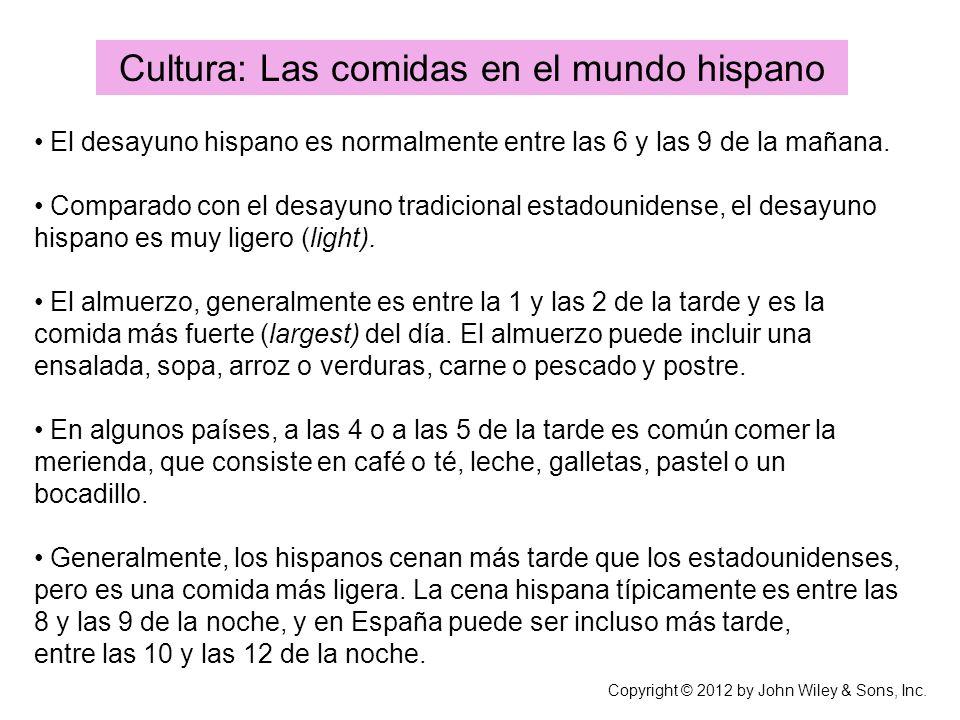 Cultura: Las comidas en el mundo hispano El desayuno hispano es normalmente entre las 6 y las 9 de la mañana. Comparado con el desayuno tradicional es