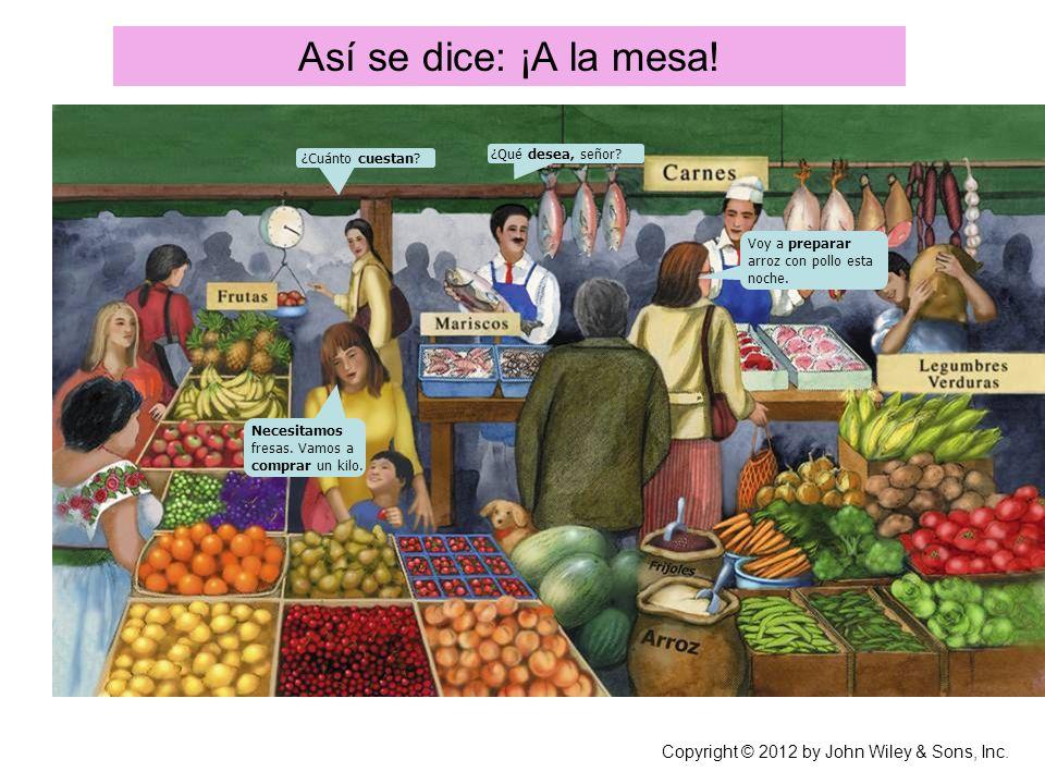 Así se dice: ¡A la mesa! Necesitamos fresas. Vamos a comprar un kilo. ¿Cuánto cuestan? ¿Qué desea, señor? Voy a preparar arroz con pollo esta noche. C
